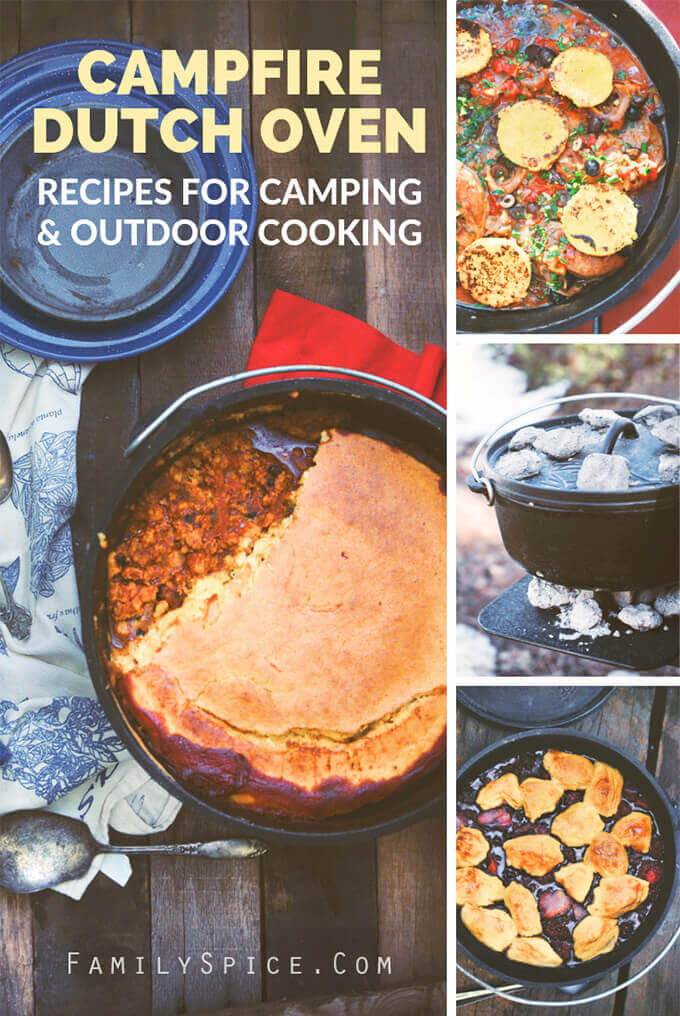 A collage of meals made over the campfire using Dutch oven recipes by FamilySpice.com
