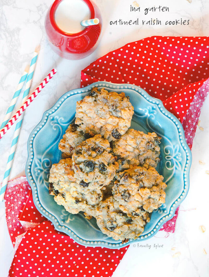 Overhead shot of a plate of Ina Garten Oatmeal Raisin Cookies with Pecans by FamilySpice.com