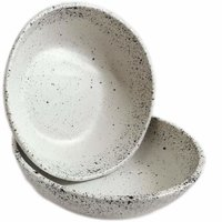 roro White Ceramic Stoneware Hand-crafted Bowl Set with Black Speckled Egg Pattern, 7 Inch Set of 2