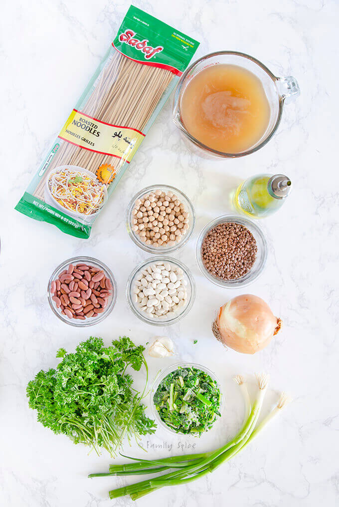 Ingredients to make instant pot ash reshteh (Persian noodle soup) by FamilySpice.com