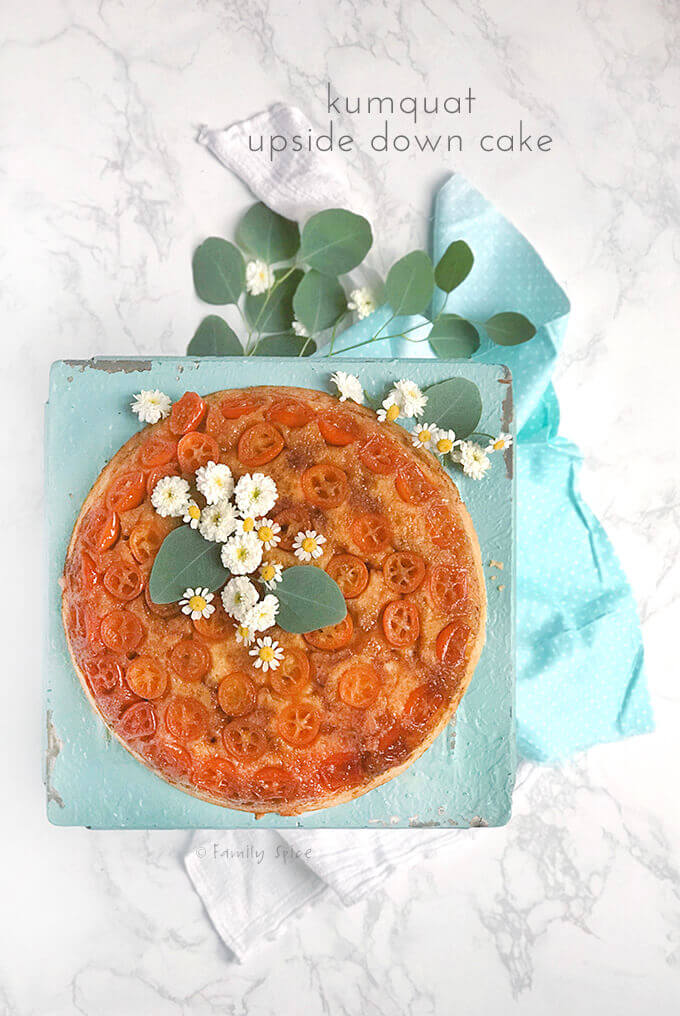 Overhead shot of kumquat upside down cake on a white marble background by FamilySpice.com