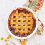 pinterest image for blueberry peach pie