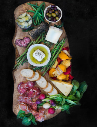 Charcuterie Board Ideas that include meats, feta and vegetables by FamilySpice.com