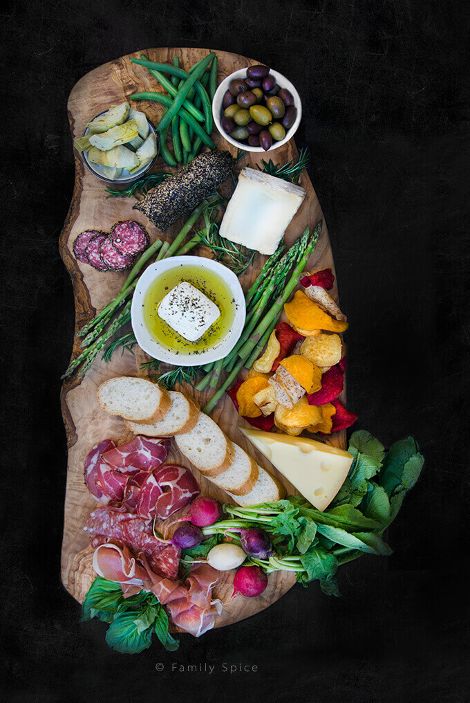 Charcuterie Board with meats, feta and vegetables by FamilySpice.com