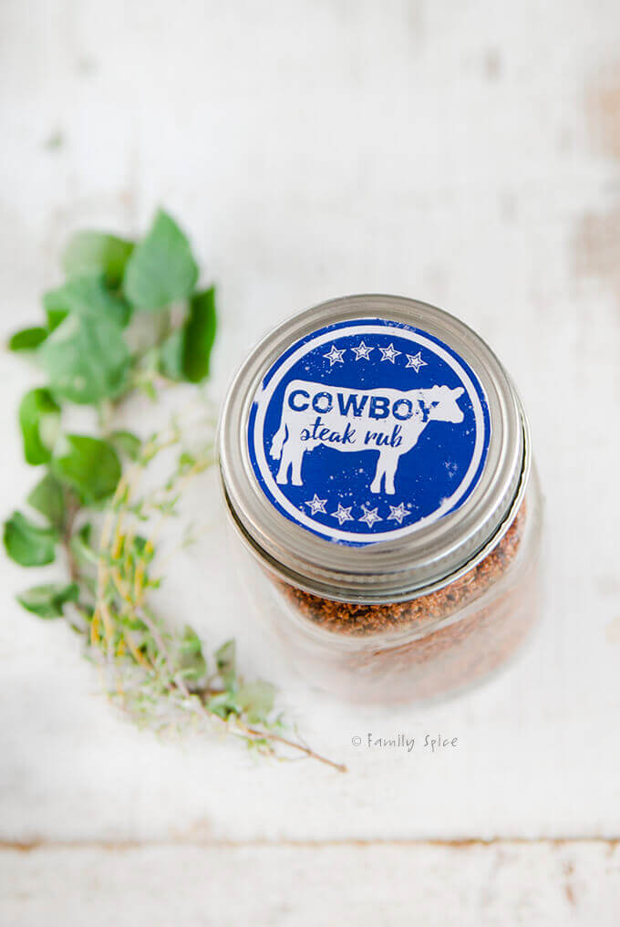 Cowboy Spice Rub in a bottle with a free printable label by FamilySpice.com