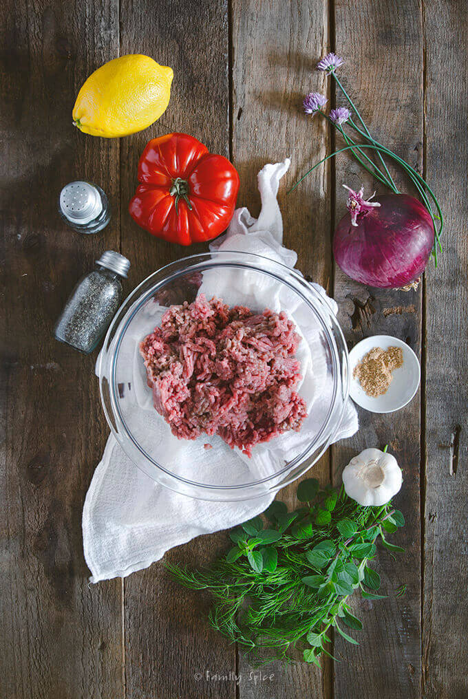 Overhead shot of ingredients for lamb burger by FamilySpice.com