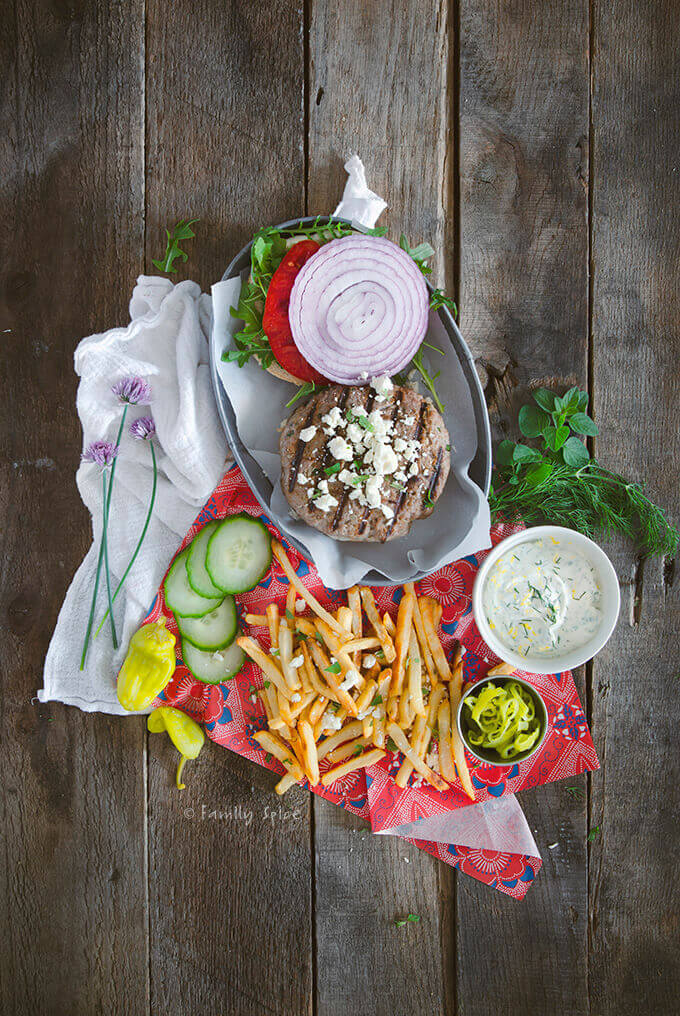 Overhead Shot Lamb Burger with Feta and French Fries by FamilySpice.com