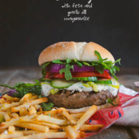 Lamb Burger with Feta and Garlic Dill Mayonnaise