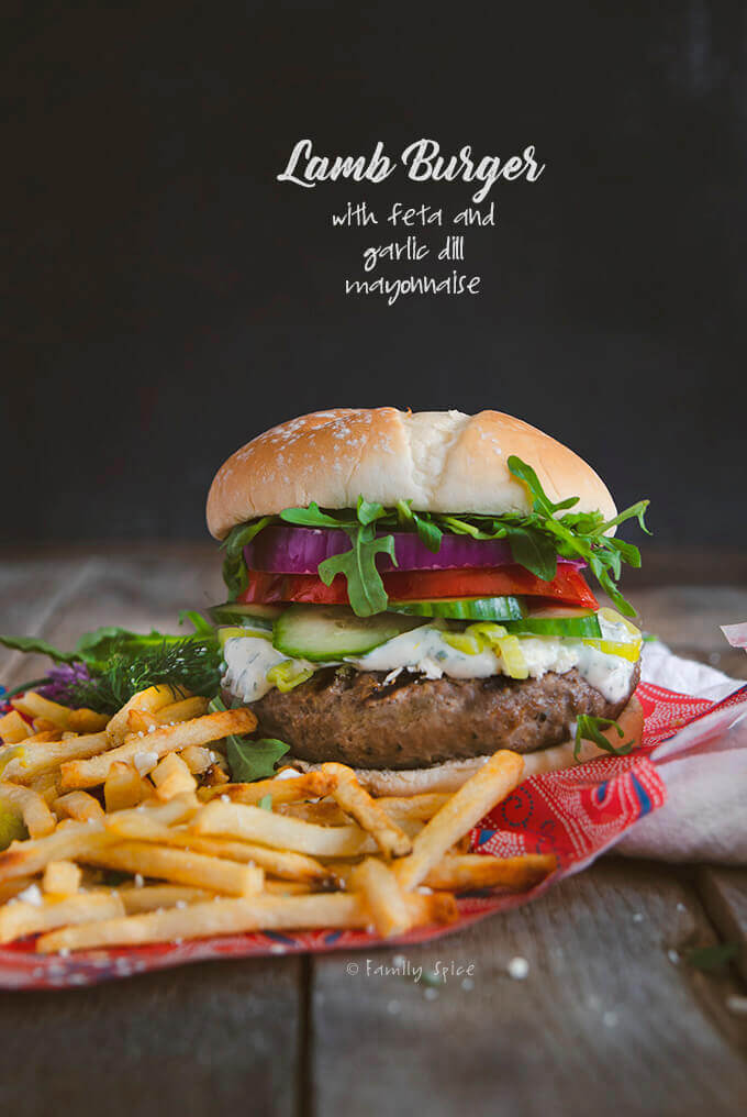 Lamb Burger with Feta and French Fries by FamilySpice.com
