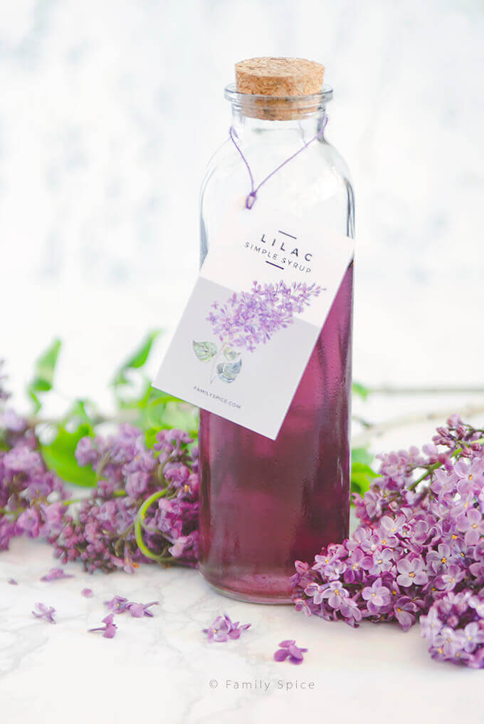 Closeup of a bottle of homemade lilac syrup with free printable label by FamilySpice.com