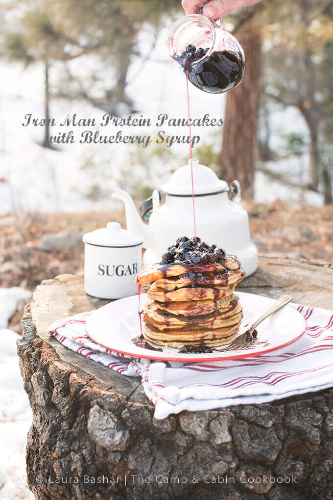 Protein Pancakes with Blueberry Syrup by Laura Bashar | FamilySpice.com