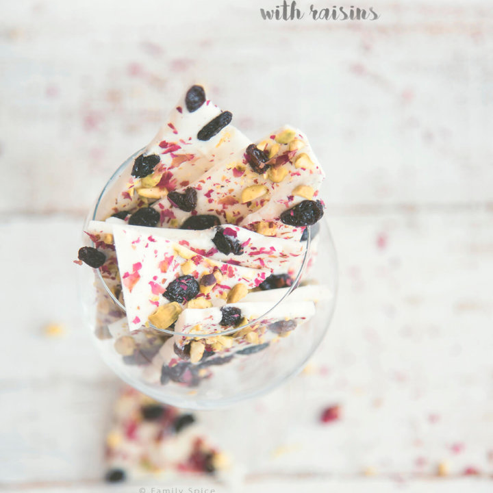White Chocolate Rose Bark with Raisins
