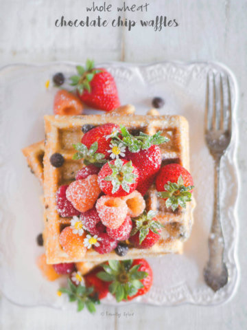 Closeup of Whole Wheat Chocolate Chip Waffles Topped with Berries by FamilySpice.com