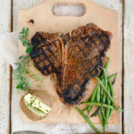 Overhead Shot of a Grilled Porterhouse Steak with Cowboy Steak Rub by FamilySpice.com