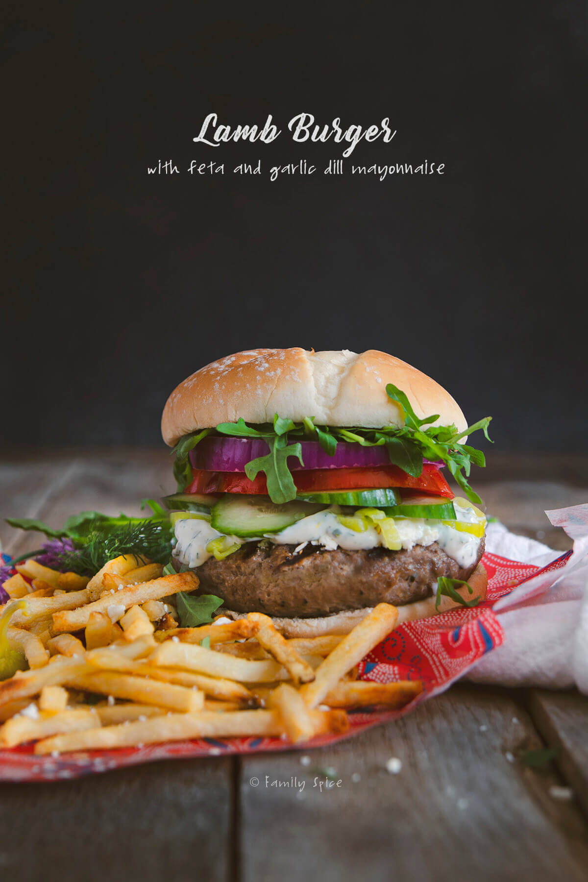 Mediterranean Lamb Burger With Feta And Garlic Dill Mayonnaise Family Spice