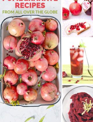 Pomegranate recipes collage by FamilySpice.com