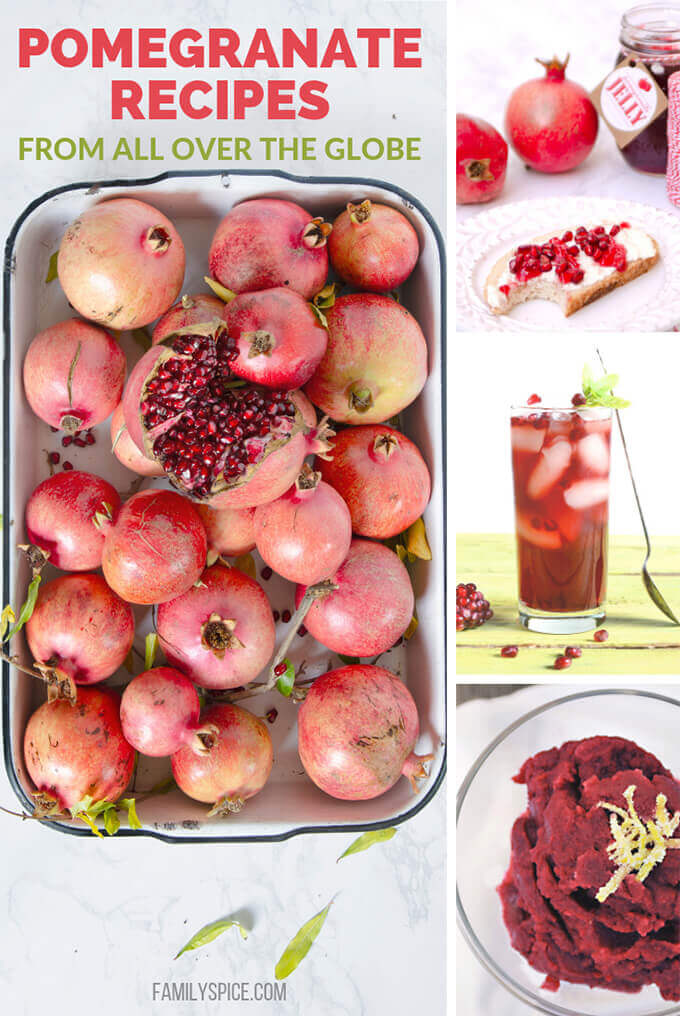 Pomegranate recipes collage by FamilySpice.com
