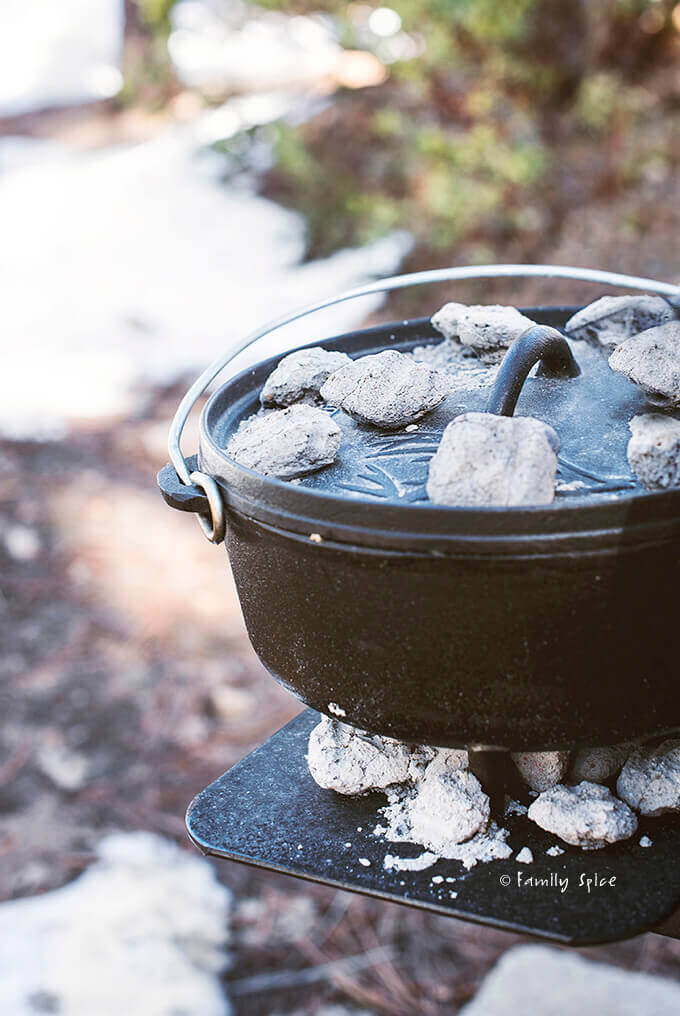 Dutch oven cooking in the snow by FamilySpice.com