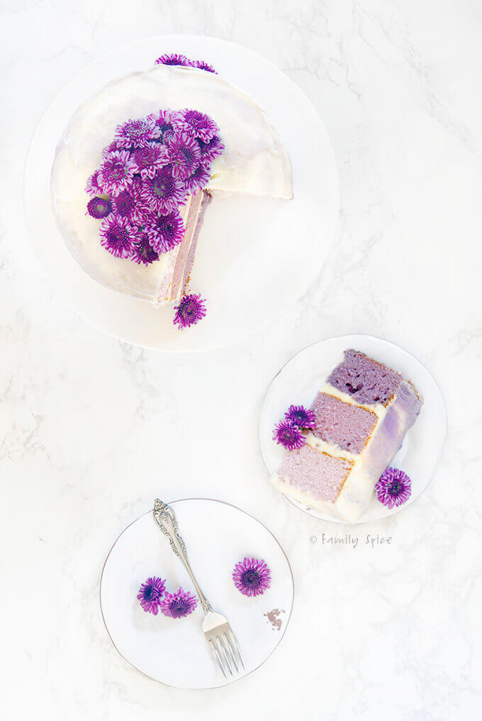 Overhead shot of frosted purple grape kool aid ombre cake with a slice cut out by FamilySpice.com