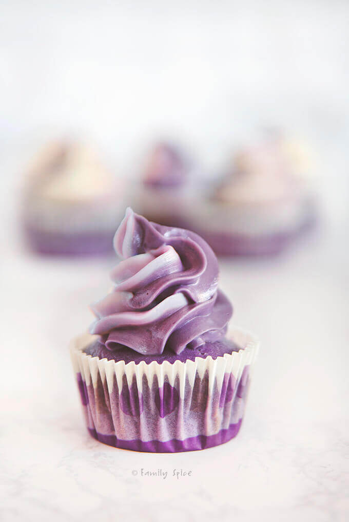 Closeup of a frosted purple grape kool aid ombre cupcakes by FamilySpice.com