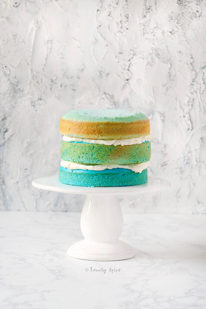 Ready to ice this blue raspberry kool aid ombre cake by FamilySpice.com