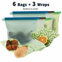 Reusable Silicone Food Storage Bag Bundled With Beeswax Wrap