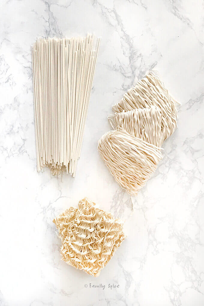 3 types of ramen noodles by FamilySpice.com