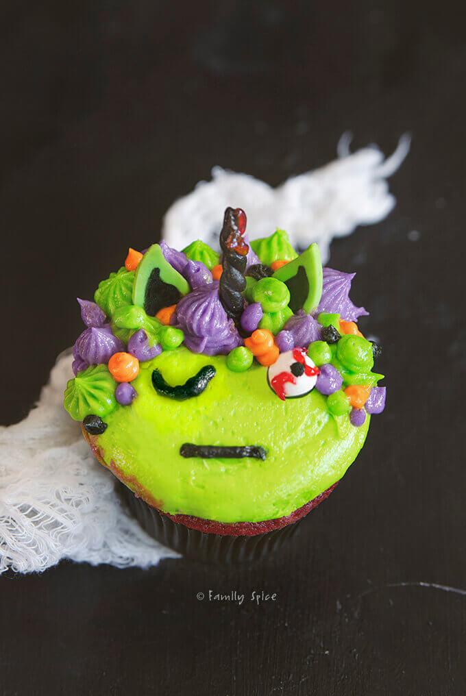 Closeup of a zombie unicorn cupcake by FamilySpice.com