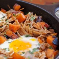 Pulled Pork Sweet Potato Hash with Eggs