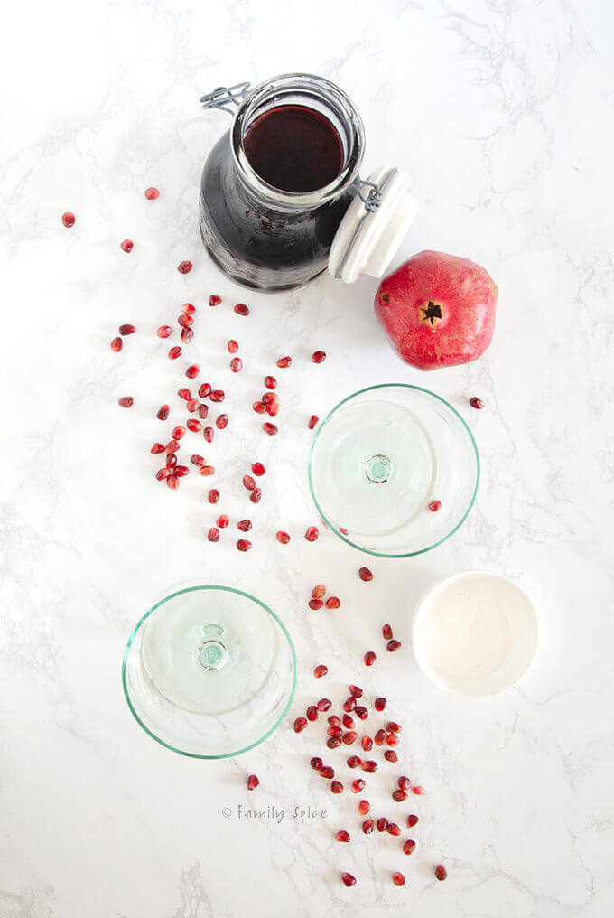 Ingredients to make pomegranate jello by FamilySpice.com