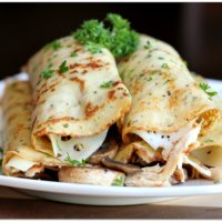 Savory Crepes with Turkey, Mushroom and Swiss Cheese