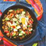 pin image for breakfast pulled pork hash with eggs, avocado and lime wedges by FamilySpice.com