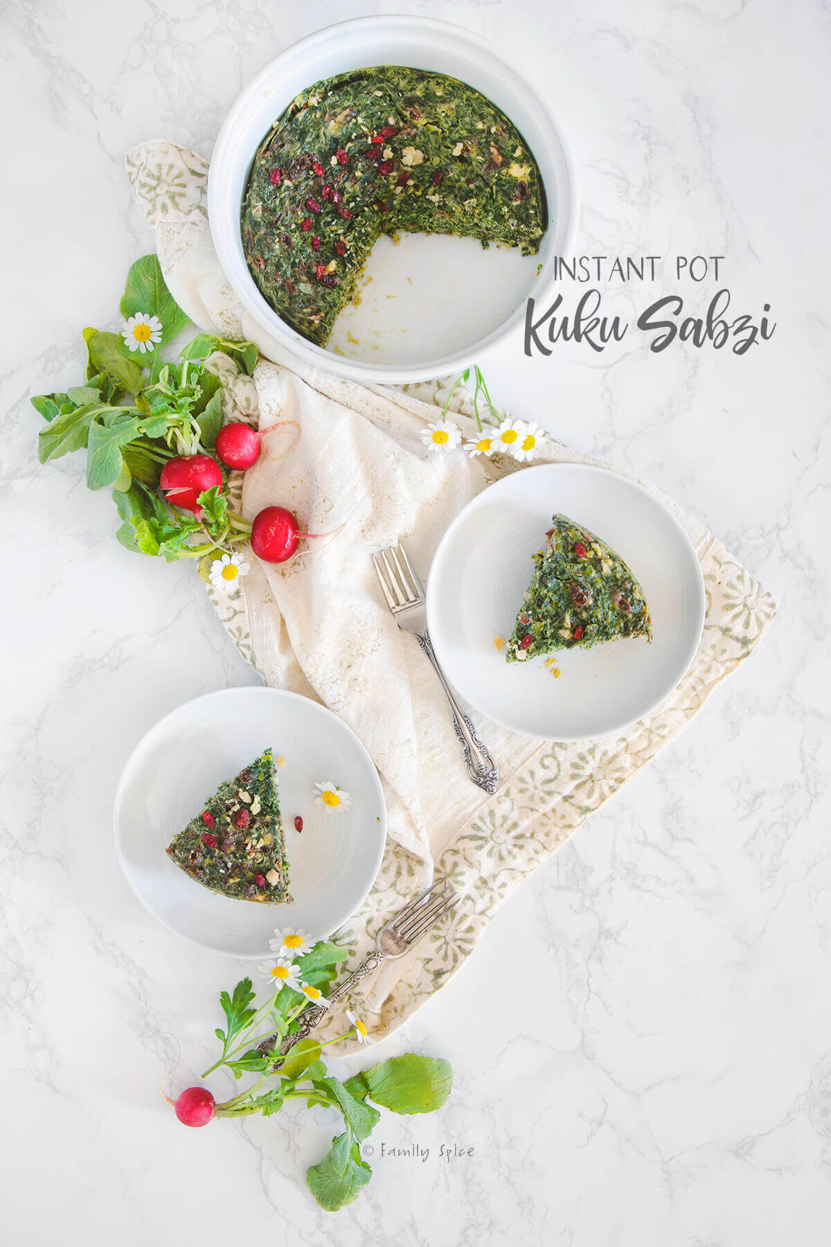 Overhead shot of several dishes with Persian kuku sabzi and fresh radishes by FamilySpice.com