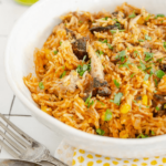 pinterest image for pulled pork mexican rice by FamilySpice.com