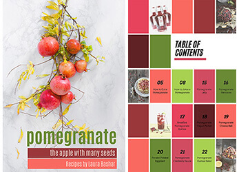 pomegranate ecookbook cover and table of contents