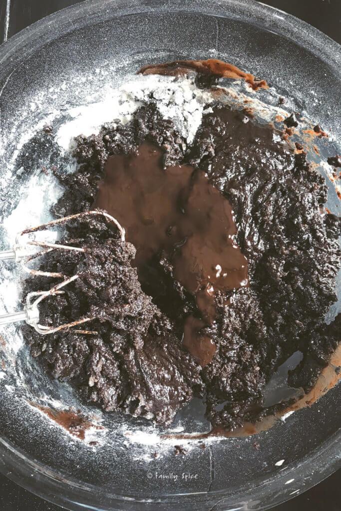 Mixing up batter to make chocolate sheet cake