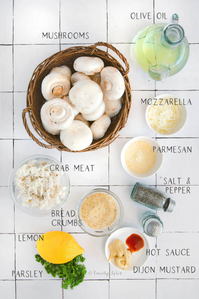 Ingredients to make crab stuffed mushrooms labeled with text