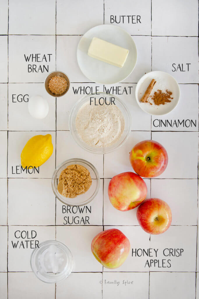 overhead view of ingredients to make whole wheat apple galette