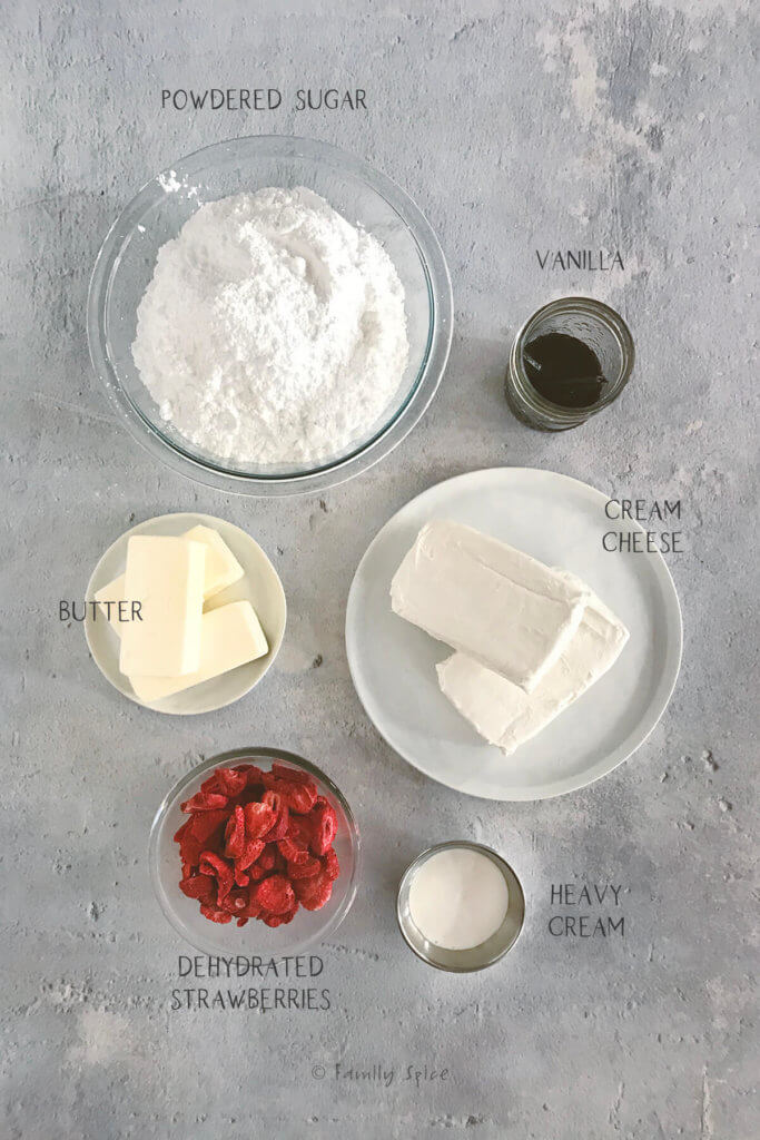 Labeled ingredients to make strawberry frosting