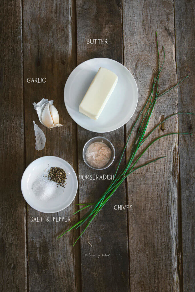 Labeled ingredients needed to make horseradish compound butter
