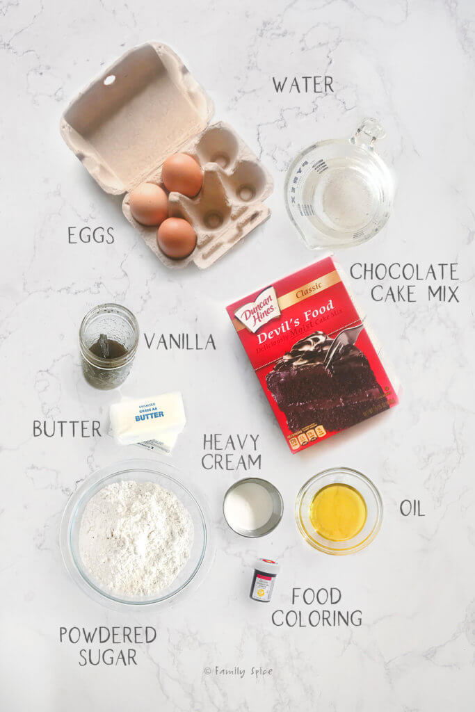 Ingredients to make chocolate heart cake