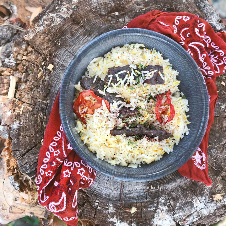 A metal bowl with saffron studded basmati rice with koobideh kebab jerky and rehydrated tomatoes sitting on a tree stump
