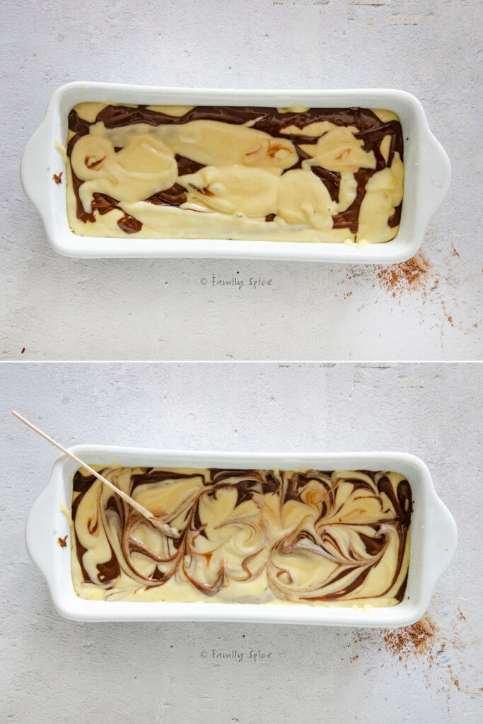Collage showing how to create the marbling effect with chocolate and vanilla cake batter