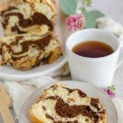 pinterest image for marble loaf cake